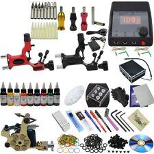 Pro Tattoo Kit 3 Machines Tattoo Equipment Set 9x 30ml Ink Power Supply Needle
