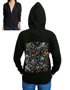 Junior's Colorful Clowns Black Fleece Zipper Hoodie Scary Halloween Mask Costume