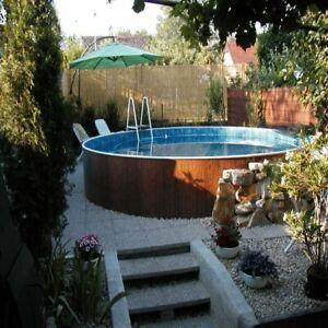 Aqua World Above Ground 12ft x 3.5ft Satinwood Round Swimming Pool, Mosaic Liner