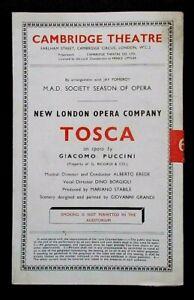 Tosca programme New London Opera Co. at Cambridge Theatre 1946 Marguerita Grandi