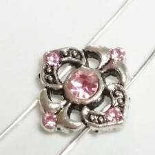2pcs Pink Rhinestone Antique Silver Beads 2 Hole Metal Spacers 14mm B68044
