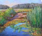 "T0919 video Oil painting Canvas Hardboard Original Landscape Water Realism 7""x8"""