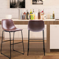 New listing Pu Leather Bar Stools with Back and Footrest Set of 2 Brown Modern Bar Stool