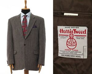 Mens HARRIS TWEED Blazer Coat Jacket Wool Herringbone Grey Size 44 54