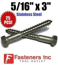 Qty 25 516 X 3 Lag Screws Hex Head Stainless Steel 18 8 304