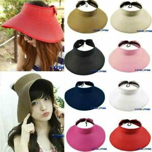 Women Roll Up Wide Brim Bow Hat Foldable Adjustable Sun Visor Floppy Caps New