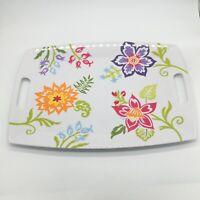 """Longaberger Summer Spring Floral 17"""" Melamine Serving Tray w/ handles"""