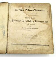 1835 Antique Polish - German Dictionary Book Dokladny Slownik Polsko - Niemiecki