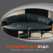 Round 5 Piece Living Room Sectional Couch Set with round table - Black Leather