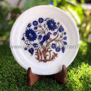 Decorative Wall Plate Cake Serving Platter Marble Inlay Lapis Lazuli Bird Design