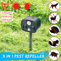 Solar Powered Ultrasonic Pest Animal Repeller Garden Cat Dog Bird PIR  L