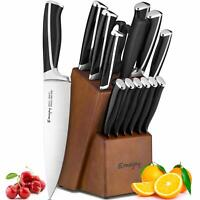 Emojoy Knife Set, 15-Piece Kitchen Knife Set with Block Wooden, Black Handle