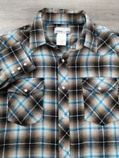 Wrangler Wrancher Shirt Plaid Flannel Pearl Snap Western Size Large L
