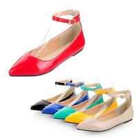 Ladies ballerinas Party patent Shoes pointed toe Ballet Flats UK plus size 0-12