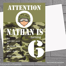 Childrens Boys Birthday Party Invitations Camo Army Soldier x 12 +envs H0476