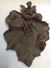Vintage Metal Bronze Leaf Figural Dish Nude Frog Art Nouveau