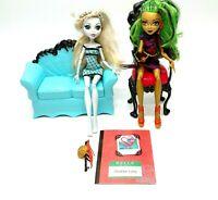 "Monster High Doll Lot Of 2 Lagoona Blue Jinafire Long 11"" W/ Accessories Mattel"