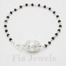 Bracciale Rosario Spinello nero Argento 925 Perla Naturale Gioielli Artigianali