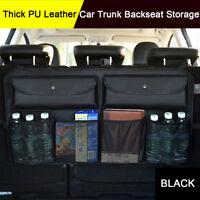 Black PU Leather Car Trunk Storage Rear Back Seat Storage Bag Mesh Net Pocket