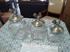 Vintage Set Of 3 Glass Canisters With Pewter Rooster Lids
