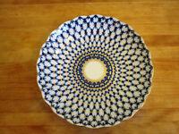 Imperial Lomonosov Porcelain Biscuit Pastry Dish Cobalt Net Pattern Russia 22kt