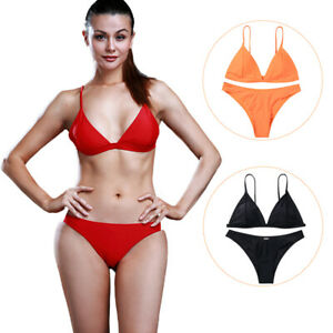 Women's Bikini Push-up Padded Bra Bandage Swimsuit Triangle Bathing Swimwear Set
