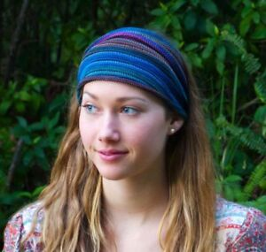 Hand-dyed Tribal Knit Headwrap  Headband  Dreadband Head scarf