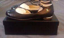 NeW CHANEL CC Classic Cap Toe Black Leather & Patent Ballerina Ballet Flats 40 9