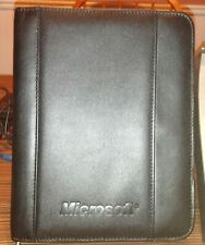 Leeds Black Faux Leather Zipper Portfolio Organizer Folder Embossed Withsea Ray