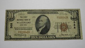 $10 1929 Waterloo New York NY National Currency Bank Note Bill Ch #368 RARE