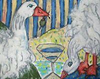Sebastopol Goose drinking a Martini ACEO PRINT Art Card 2.5X3.5 Geese by KSams