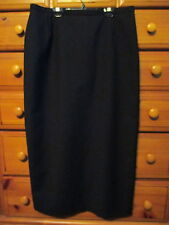 Womens Motivi Made in Italy Pure Cool Wool Black Lined Zip Long Skirt Sz 14 / 48
