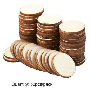 50pcs Wood Log Slices Drilled Discs Round Pyrography Rustic DIY Crafts