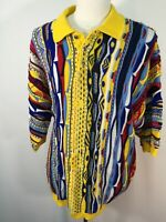 VTG Delf Yellow Ugly Sweater Short Sleeve Cosby 3D Biggie Hip Hop Cable Mens XXL
