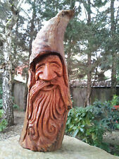 Wizard Wood Spirit Carving Yard Gaurd Art Statue Decor Bigfoot Face Garden Gnome