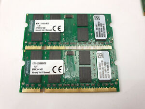 2x Kingston KTH-ZD8000B/2G 1.8V 2GB 667Mhz 200 PIN SODIMM PC2-5300 4GB DDR2 K2