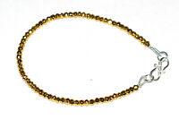 "925 Sterling Silver Gold Pyrite Gemstone 5-10"" Strand Bracelet 3-3.5 mm Beads"