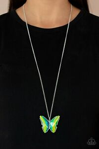 """NEW PAPARAZZI """"THE SOCIAL BUTTERFLY EFFECT"""" GREEN OIL SPILL NECKLACE"""