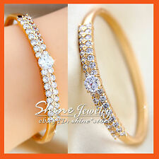 18K GOLD GF BA52 PAVE BAND LADY WEDDING BRIDAL BANGLE BRACELET SIMULATED DIAMOND