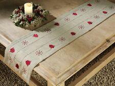 Tischläufer natur rot Leinen Weihnachten 40x140 Deko Landhaus Stickerei Typ174