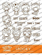Spooky Kit-The Greeting Farm Rubber Stamp-Stamping Craft-Halloween Anya/Bean