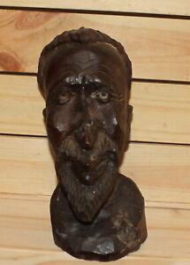 Vintage hand carving wood African man head figurine