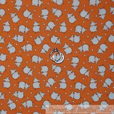 BonEful Fabric Cotton Quilt VTG Orange White Baby Elephant Dot Boy Girl 99 SCRAP