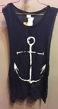 $48 NWT Surf Gypsy Brand Solid Blue Anchor Graphic Super Soft Top Size M