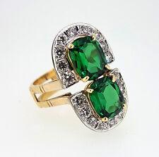 Exceptional 6.08 Cts. Vivid Emerald Green Tsavorite Garnet and Diamond Ring COA