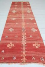 "Vintage Turkish Kilim Runner Carpet Runner Hallway Rug Red Long Corridor 26""X84"""