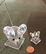 """Signed Swarovski Crysyal Mouse 2 1/2"""" / small mouse 1"""" (unsigened/unknown maker)"""