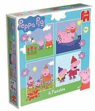 NEW Peppa Pig 4-in-1 Jigsaw Puzzles Childrens Bright Colours Quality Xmas Gift