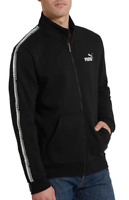 NWT Puma Mens Track Jacket Black Gray Spell Out Sleeve Tape Amplified