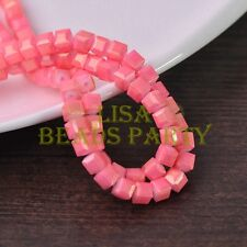 New 50pcs 6mm Cube Square Faceted Gold Foil Glass Loose Spacer Beads Deep Pink